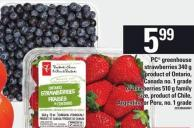PC Greenhouse Strawberries - 340 G Or Blueberries - 510 G Family Size