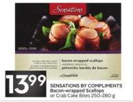 Sensations By Compliments Bacon-wrapped Scallops or Crab Cake Bites 250-280 g
