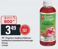 PC Organics Raspberry Hibiscus Kombucha Fermented Tea Beverage - 473 mL
