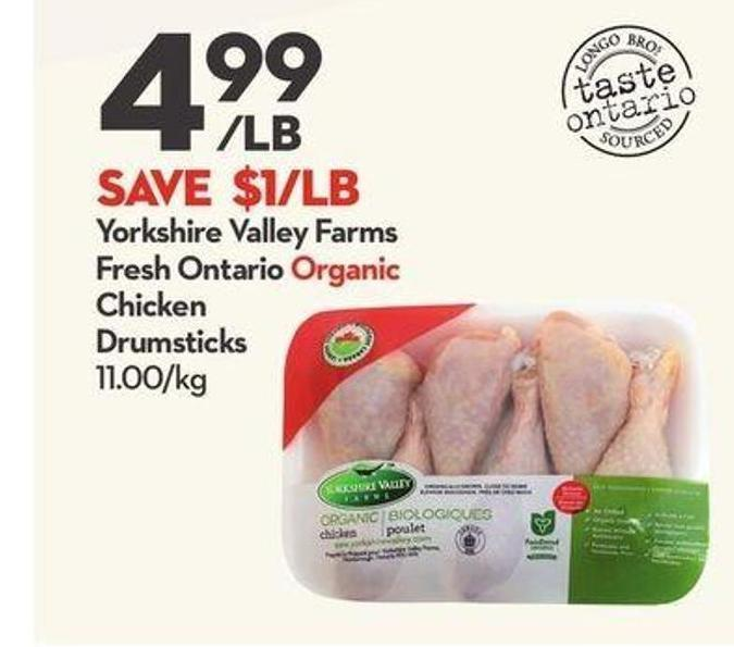 Yorkshire Valley Farms Fresh Ontario Organic Chicken Drumsticks