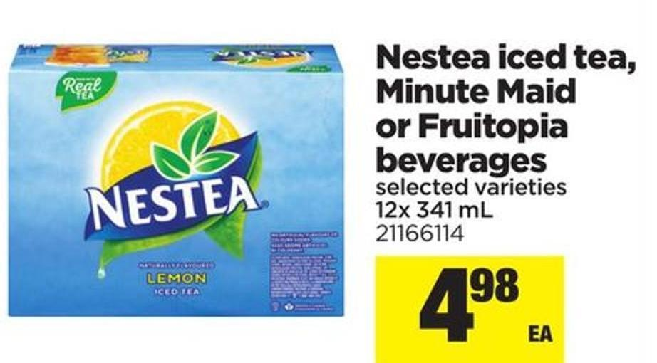 Nestea Iced Tea - Minute Maid Or Fruitopia Beverages - 12x 341 mL