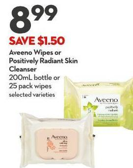 Aveeno Wipes or  Positively Radiant Skin Cleanser 200ml Bottle or  25 Pack Wipes