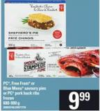 PC - Free From Or Blue Menu Savoury Pies Or PC Pork Back Ribs - 680-900 G