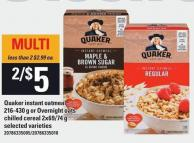 Quaker Instant Oatmeal - 216-430 G Or Overnight Oats Chilled Cereal - 2x69/74 G