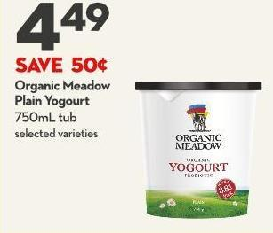 Organic Meadow  Plain Yogourt 750ml Tub