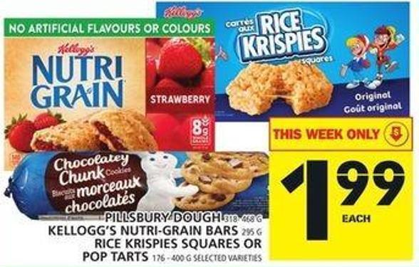 Pillsbury Dough Or Kellogg's Nutri-grain Bars Or Rice Krispies Squares Or Pop Tarts