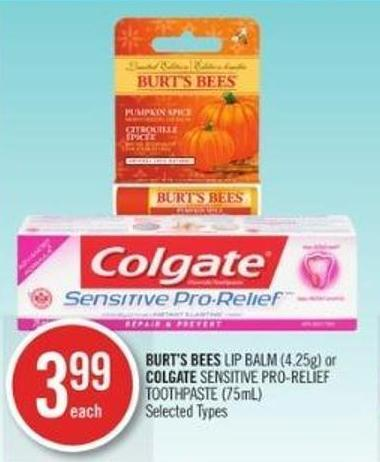 Burt's Bees Lip Balm (4.25g) or Colgate Sensitive Pro-relief Toothpaste (75ml)