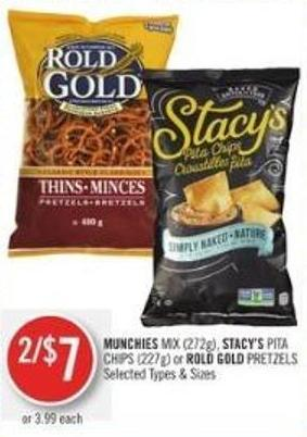 Munchies Mix (272g) - Stacy's Pita Chips (227g) or Rold Gold Pretzels