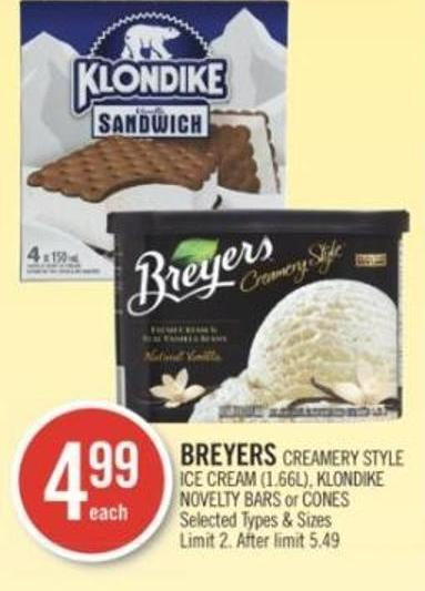 Breyers Creamery Style Ice Cream (1.66l) - Klondike Novelty Bars or Cones