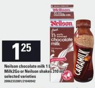 Neilson Chocolate Milk - 1 L - Milk2go or Neilson Shakes - 310 mL