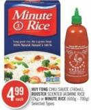 Huy Fong Chili Sauce (740ml) - Rooster Scented Jasmine Rice (2kg) or Minute Rice (600g - 700g)