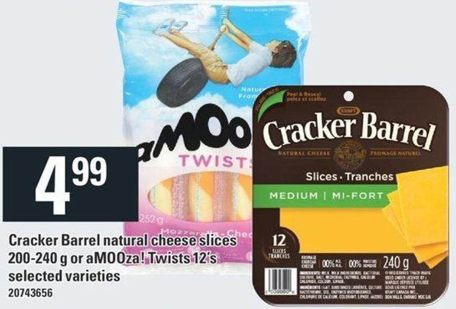 Cracker Barrel Natural Cheese Slices 200-240 g Or Amooza! Twists 12's