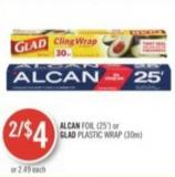 Alcan Foil (25') or Glad Plastic Wrap (30m)