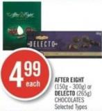 After Eight (150g - 300g) or Delecto (265g) Chocolates