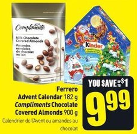 Ferrero Advent Calendar 182 g Compliments Chocolate Covered Almonds 900 g