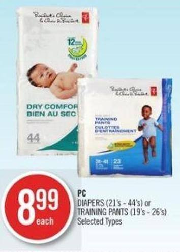 PC   PC Diapers (21's - 44's) or Training Pants (19's - 26's)