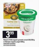 Nature's Path Organic Granola Cereal - 325/350 G Or Olympic Organic Yogurt - 650 G