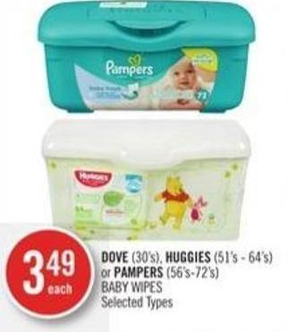 Dove (30's) - Huggies (51's - 64's) or Pampers (56's - 72's) Baby Wipes