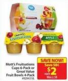 Mott's Fruitsations Cups 6-pack or Great Value Fruit Bowls 4-pack