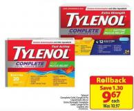Tylenol Complete Cold  - Cough & Flu Liquid Gels 20s or Extra Strength Complete Cold - Cough & Flu Caplets 24s