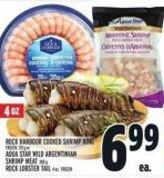 Rock Harbour Cooked Shrimp Ring Or Aqua Star Wild Argentinian Shrimp Meat And Rock Lobster Tail 311 g Or 300 g And 4 Oz - Frozen