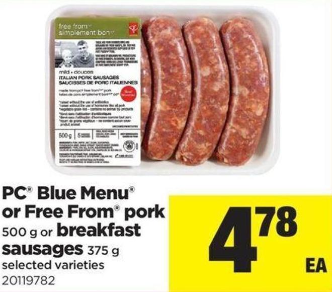 PC Blue Menu Or Free From Pork - 500g Or Breakfast Sausages - 375 g