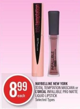 Maybelline New York Total Temptation Mascara or L'oréal Infallible Pro Matte Liquid Lipstick