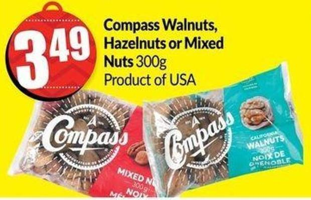 Compass Walnuts - Hazelnuts or Mixed Nuts 300g