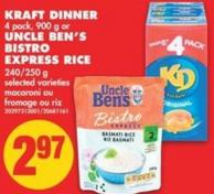 Kraft Dinner 4 Pack - 900 g or Uncle Ben's Bistro Express Rice 240/250 g
