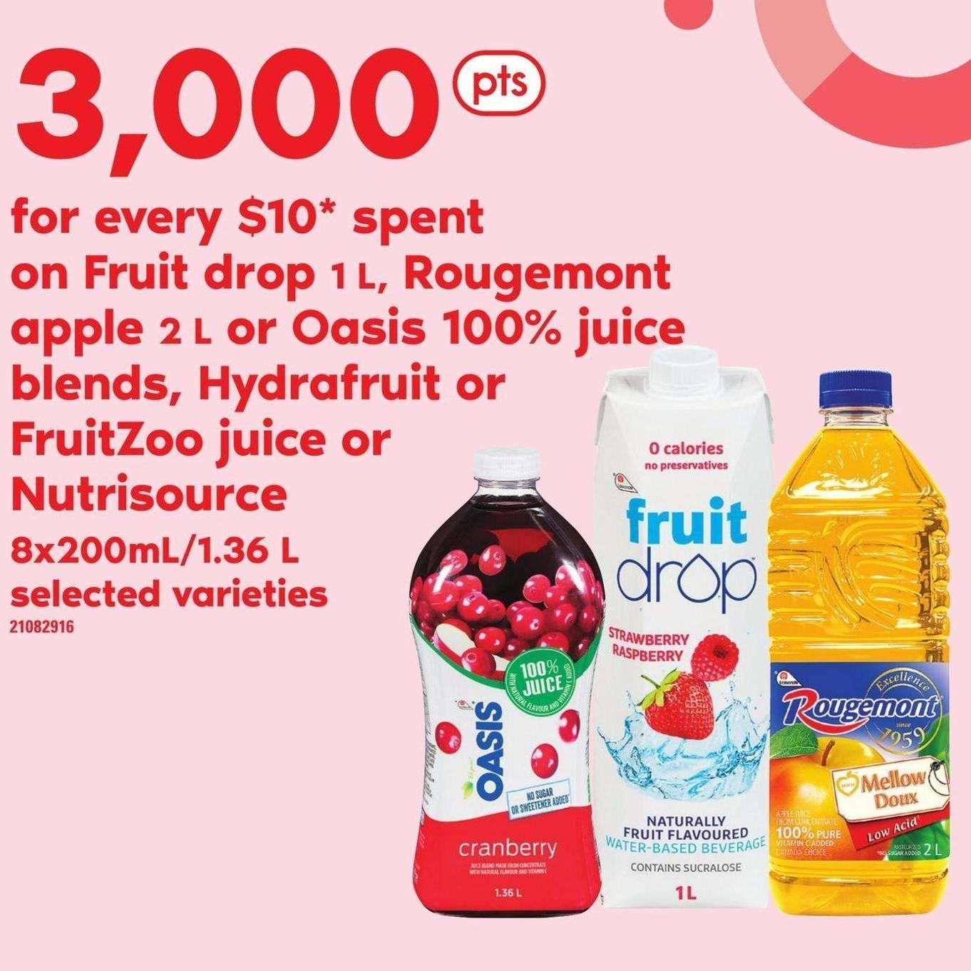 Fruit Drop 1 L - Rougemont Apple 2 L Or Oasis 100% Juice Blends - Hydrafruit Or Fruitzoo Juice Or Nutrisource - 8x200ml/1.36 L