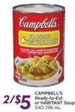 Campbell's Ready-to-eat or Habitant Soup 540-796 mL
