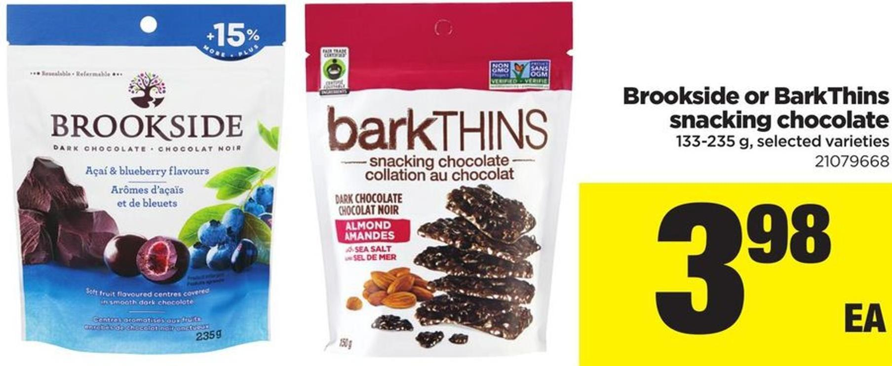 Brookside Or Barkthins Snacking Chocolate - 133-235 G