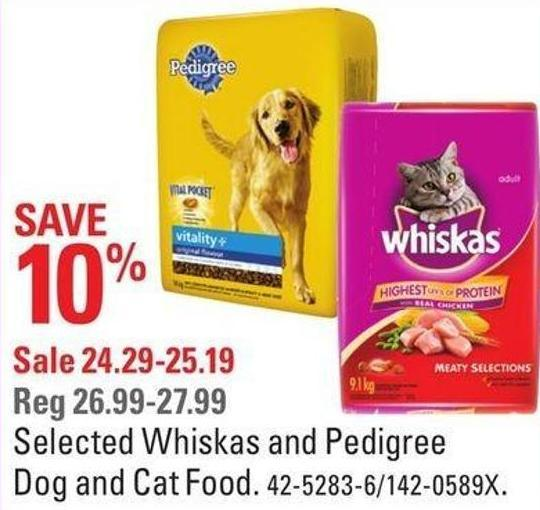 Selected Whiskas and Pedigree Dog and Cat Food