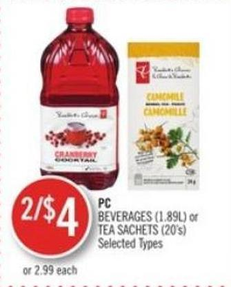 PC Beverages (1.89l) or Tea Sachets (20's)