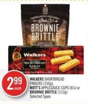 Walkers Shortbread Fingers (150g) - Mott's Applesauce Cups (6's) or Brownie Brittle (113g)