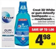 Crest 3D White Or GUM Detoxify Toothpaste 90 Ml Or Mouthwash 1 L