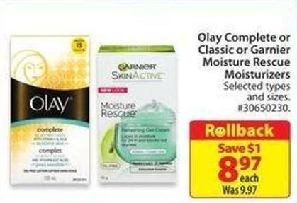 Olay Complete or Classic or Garnier Moisture Rescue Moisturizers