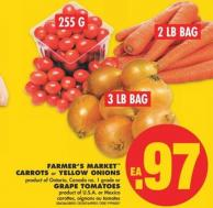 Farmer's Market Carrots - 2 Lb Bag or Yellow Onions - 3 Lb Bag or Grape Tomatoes - 255 G