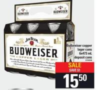 Budweiser Copper Lager Cans - 6x473 Ml