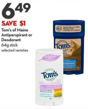 Tom's of Maine  Antiperspirant or  Deodorant 64g Stick
