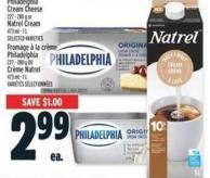 Philadelphia Cream Cheese 227 - 280 g Or Natrel Cream 473 ml - 1 L