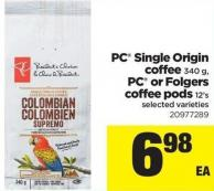PC Single Origin Coffee - 340 g - PC Or Folgers Coffee PODS - 12's