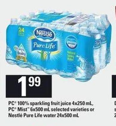 PC 100% Sparkling Fruit Juice - 4x250 Ml - PC Mist - 6x500 Ml Or Nestlé Pure Life Water - 24x500 Ml