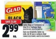 Ziploc Bags Or Containers Or Glad 10 Ct Garbage Bags
