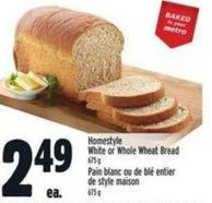 Homestyle White Or Whole Wheat Bread 675 g