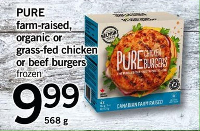 Pure Farm-raised - Organic Or Grass-fed Chicken Or Beef Burgers - 568 G