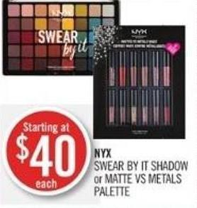 Nyx Swear By It Shadow or Matte Vs Metals Palette