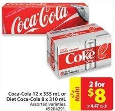 Coca-cola 12 X 355 mL or Diet Coca-cola 8 X 310 mL