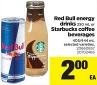 Red Bull Energy Drinks - 250 mL Or Starbucks Coffee Beverages - 405/444 mL