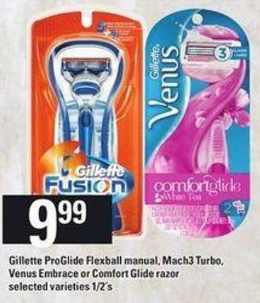 Gillette Proglide Flexball Manual - Mach3 Turbo - Venus Embrace Or Comfort Glide Razor - 1/2's